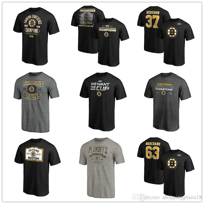 Boston Bruins T-Shirts #63 Marchand #37 Bergeron 2019 Stanley Cup Eastern Conference Champions Hockey shirts Tees Printed Team Brand logos