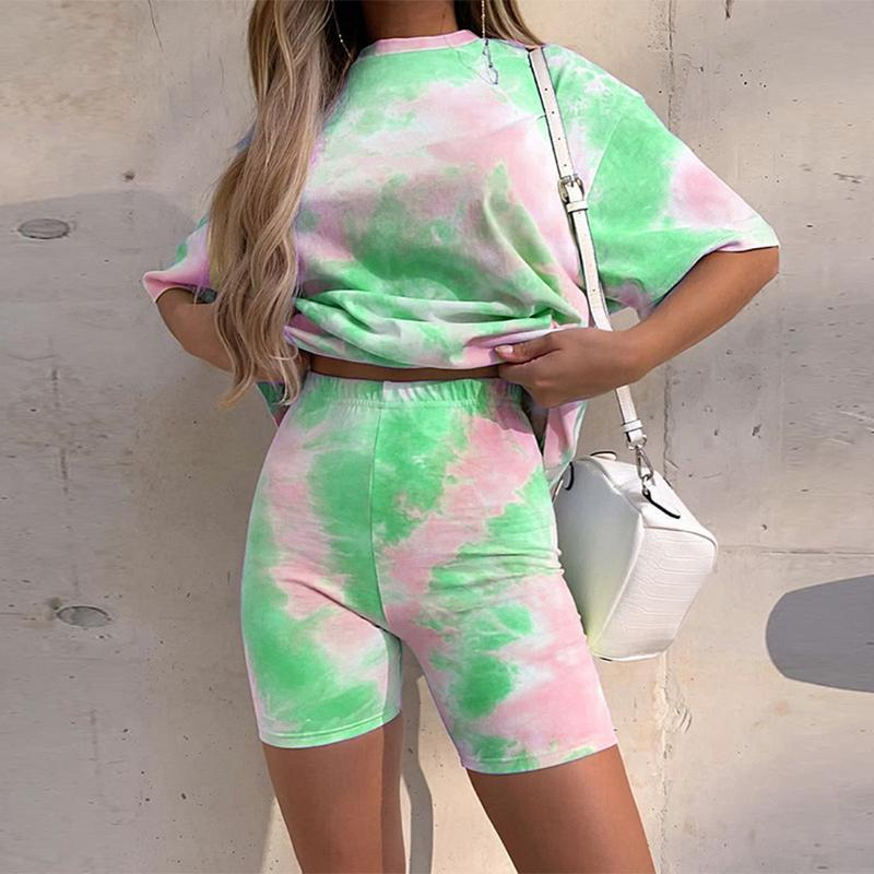 Dropshipping Casual Tie Dye Two Piece Set Women Tracksuit Fashion Summer Top and Biker Shorts Matching Sets Outfits Sportswear