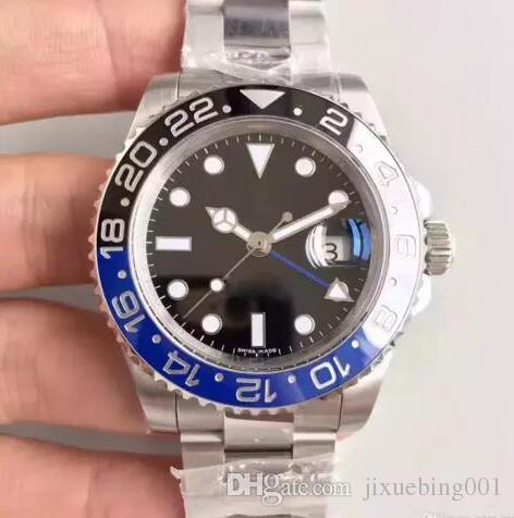 luxuoso vendendo quente GMT Cerâmica Bezel Mens Mecânica Aço Inoxidável Movimento automático Assista Sports Auto-vento Relógios homens mestre relógio de pulso