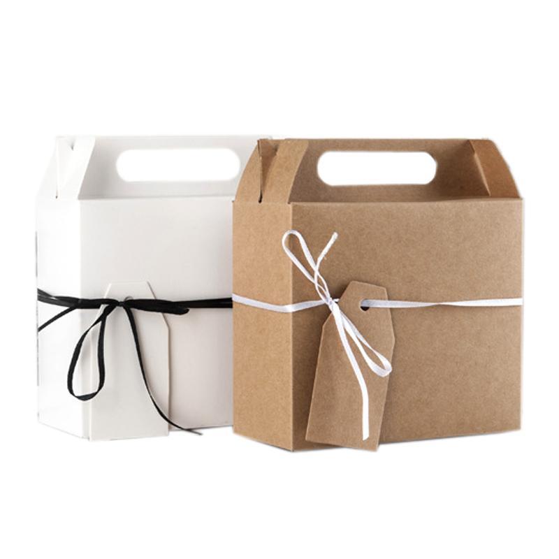 10pcs de la torta del papel de Kraft caja con la manija Cajas de fiesta de la boda cumpleaños de la Navidad del regalo del caramelo de embalaje con la etiqueta engomada