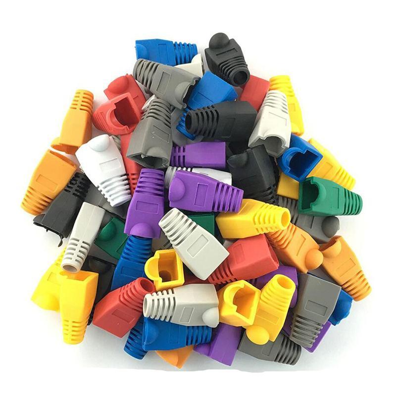 100 Pcs Mixed Color CAT5E CAT6 RJ45 Ethernet Network Cable Cap Strain Relief Boots Cable Connector Plug Cover