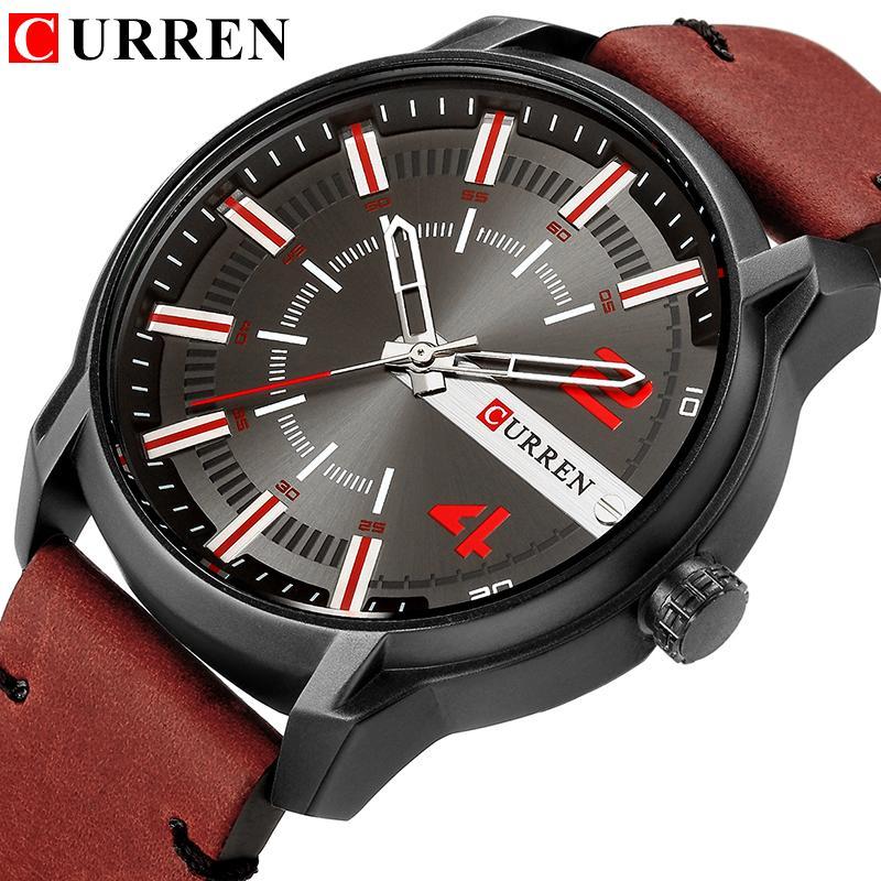 Erkekler Saatler Marka CURREN Yeni Casual İş Askeri Kuvars Kol Deri Kayış Saat Relogio Masculino Reloj Hombre