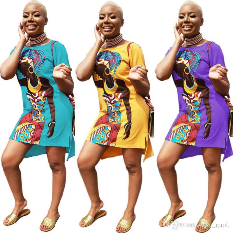 2019 hot selling women summer African girl print casual dress Mini short loose dress Female O-neck dresses Short Sleeve Summer T Shirt Dress