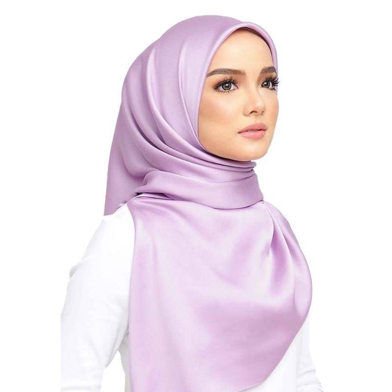 90x90cm muçulmano Hijab Mulheres Silky cetim liso Sólidos Praça cachecol xale sarja islâmicos Envoltório principal Multi-Function Lenço 7 Cores