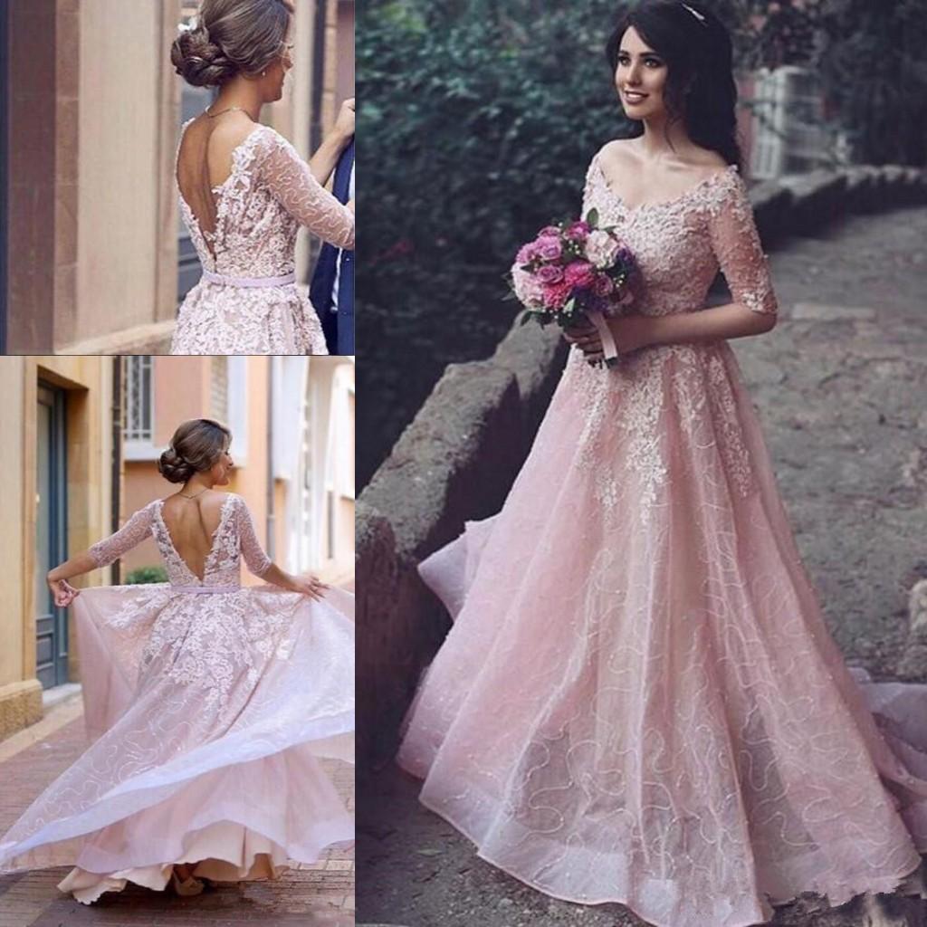 Blush Pink Full Lace Applique Abiti da sera con illusione Mezza manica 2019 Scollo a V Dubai Arabo Backless Occasion Prom Gown