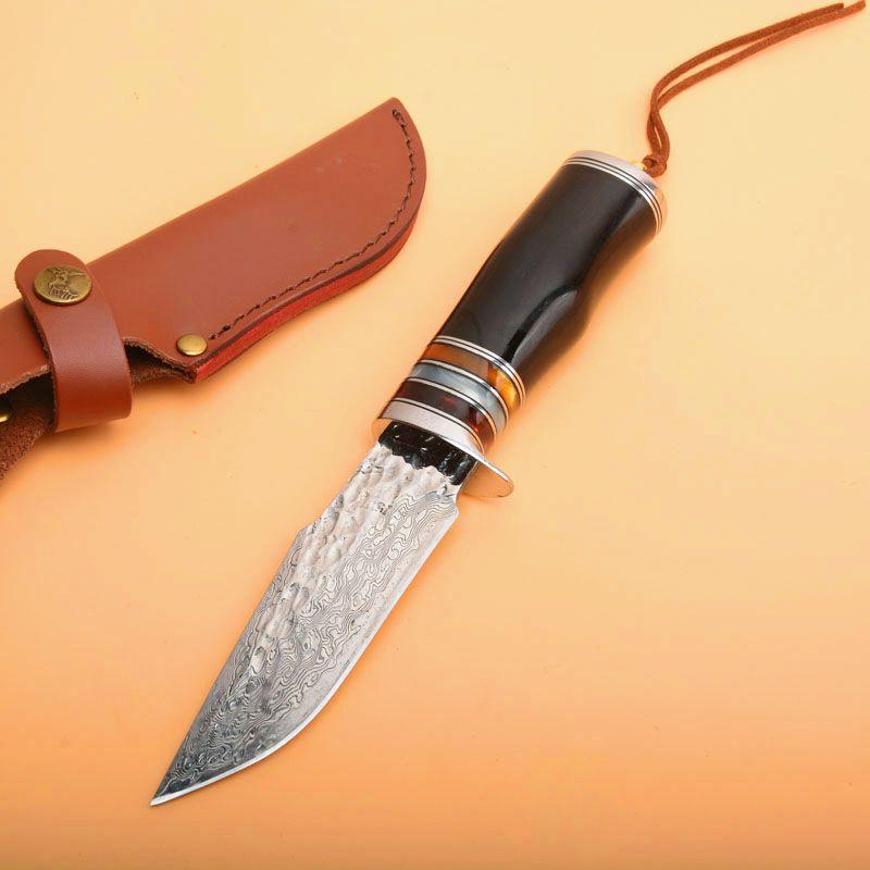 Promoción Cuchillo de caza recto de supervivencia al aire libre VG10 Acero de Damasco Punto de caída Cuchilla de ébano Mango Cuchillos fijos