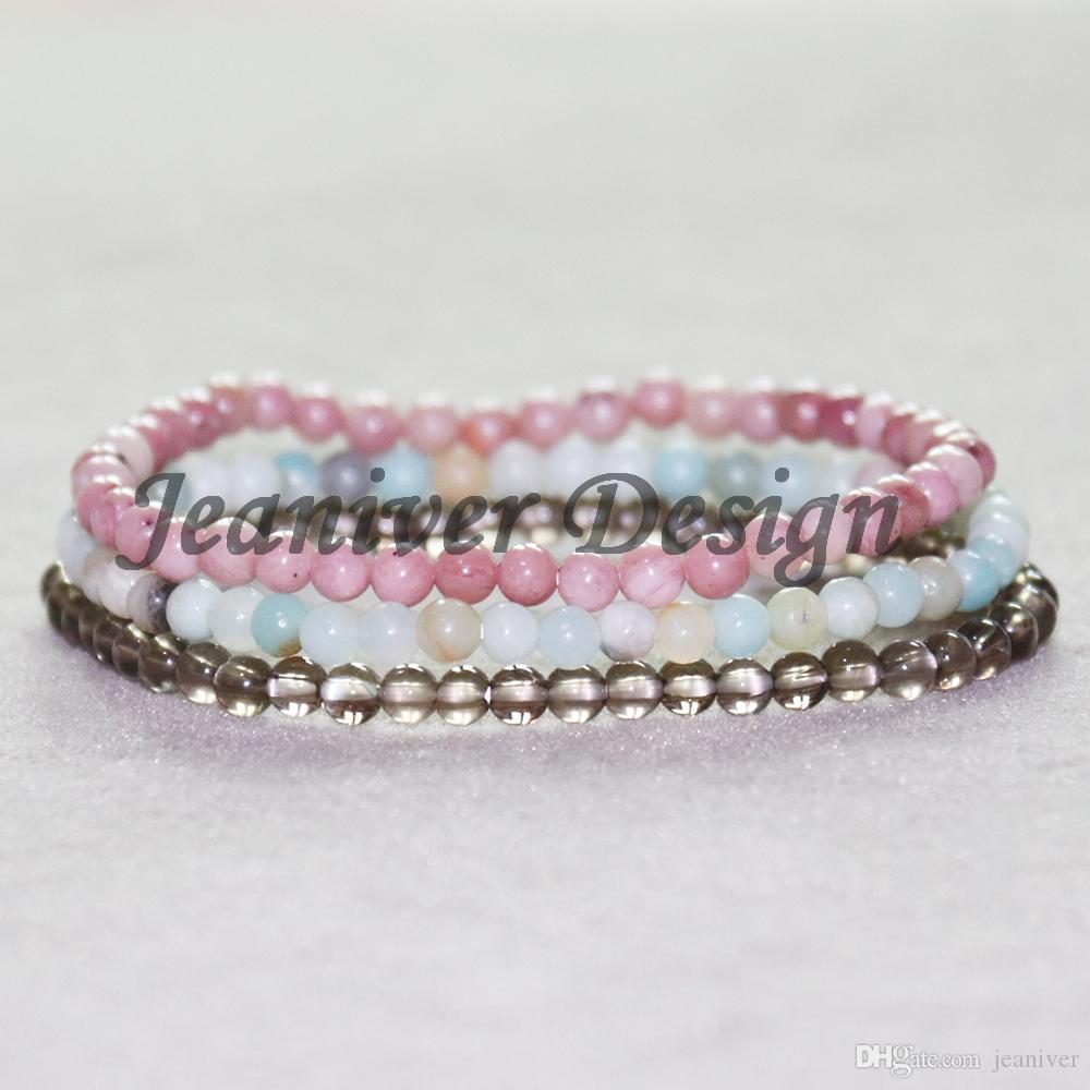 Jeaniver 2019 Smokey Quart z Bracelet Rhodonite Bracelet Amazonite Mini Gem Stone Energy Bracelets