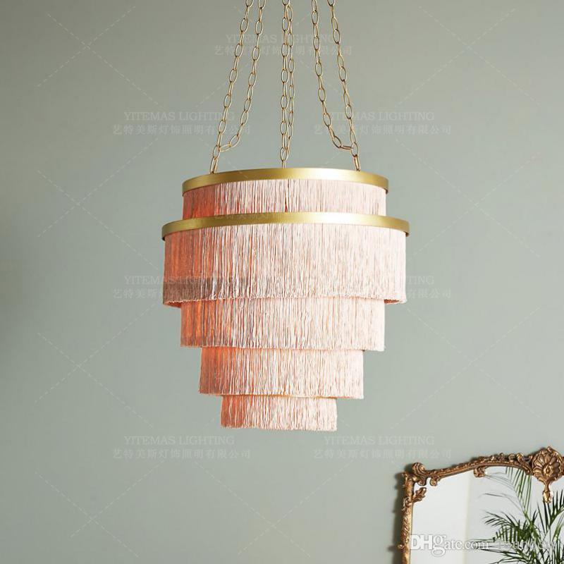 Large Pink Chandelier For Girls Room Foyer Bedroom Creative Cotton Thread  Line Lighting Luxury Hotel Lobby Hanging Chandelier Cheap Pendant Light ...