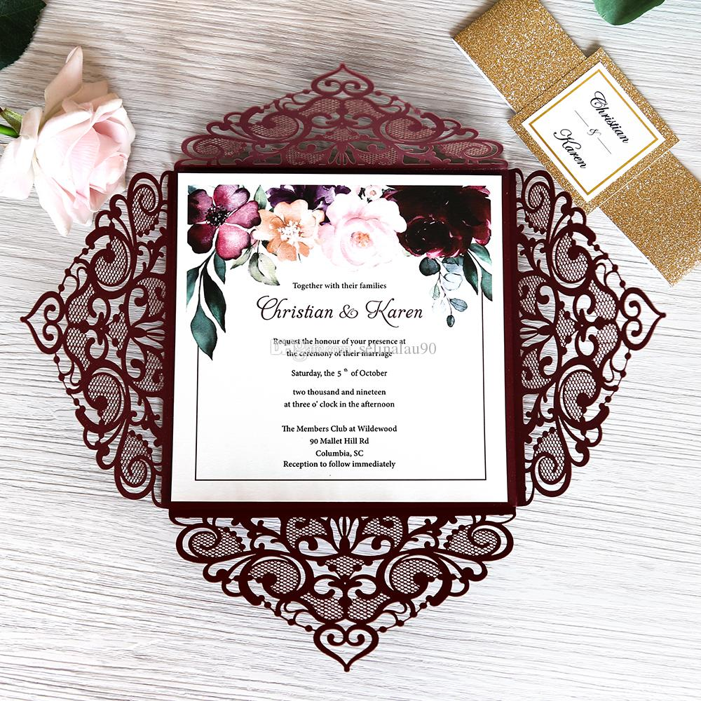 Luxury Burgundy Wedding Invitations With Gold Glitter Band Tag, Laser Cut Invitation  Cards For Quinceanera Bridal Shower, DIY Dinner Invite Electronic Wedding  Invitations Formal Wedding Invitations From Selinalau90, $0.59| DHgate.Com