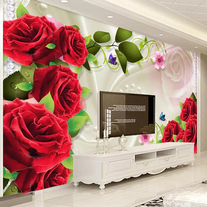 Dropship Custom Photo Wall Paper Roll 3D Silk Cloth Rose Flower Living Room TV Background Wall Decor Painting Mural Wallpaper for Bedroom