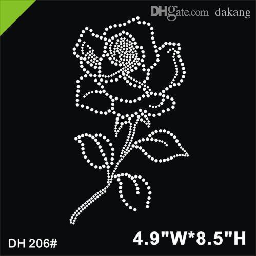 Free shipping stone crystal hotfix rhinestones motif heat transfer design iron on rose flower for clothesgarment DIY DH206#