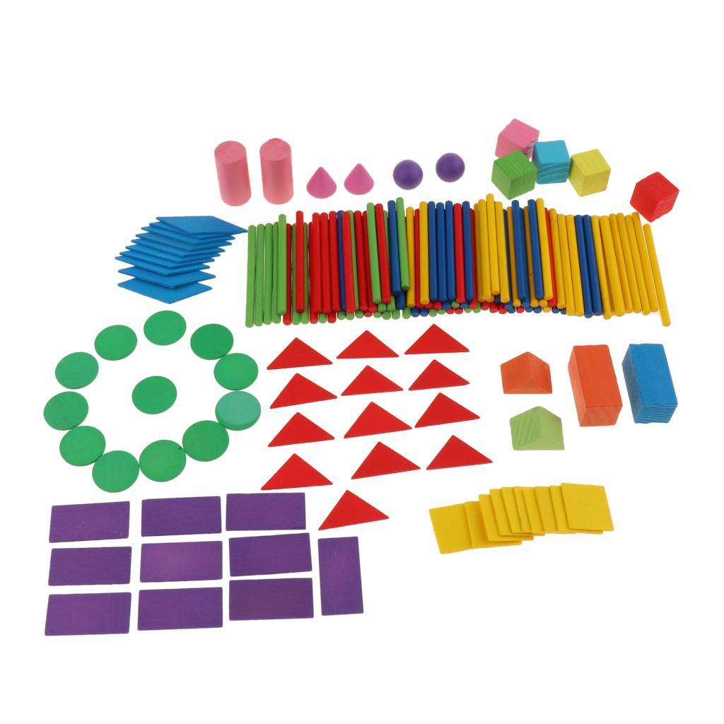 Дети дети математика развивающие Монтессори игрушки набор, включает в себя 100 счетные палочки, геометрические блоки 15 и 50 геометрические фигуры