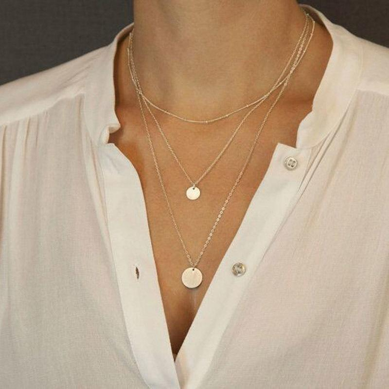 Europäische und amerikanische Mode-Accessoires neue Größe elektroplattiert Pailletten und schöner mehrschichtige lange Halskette