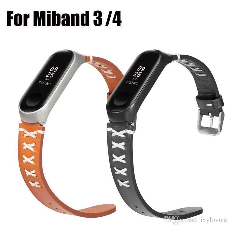 Horlogeband voor Xiaomi MI Band 3 4 Sportriem Horloge Lederen Polsband voor Miband 4 3 Horlogeband Accessoires Armband