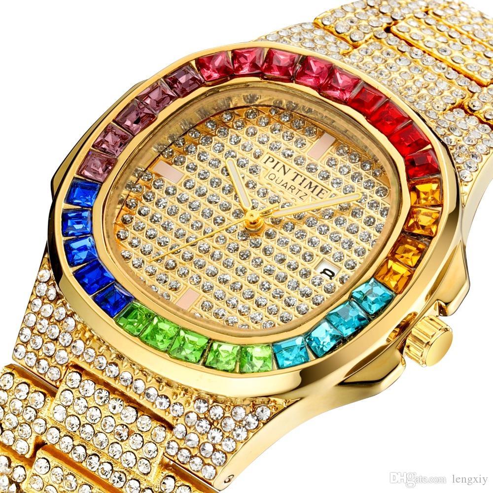 Iced Out Farbige Diamanten Hip Hop Herrenuhren Luxus Royal Oak beobachten Gold-Frauen-Uhr-Quarz-Geschäfts-Day Date Uhr montres gießen hommes