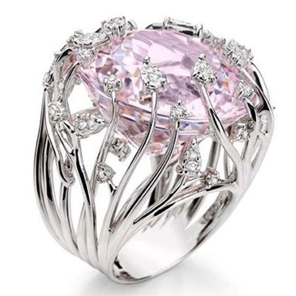 Kadınlar R184 için pembe kristal Yüzük Nişan Takı Lüks Kadın Alyans 925 Gümüş cz Elmas HALKASI Seti