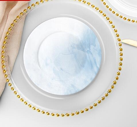 27cm Round Bead Dishes Glass Plate with Gold/ Silver/ Clear Beaded Rim Round Dinner Service Tray Wedding Table Decoration GGA3206