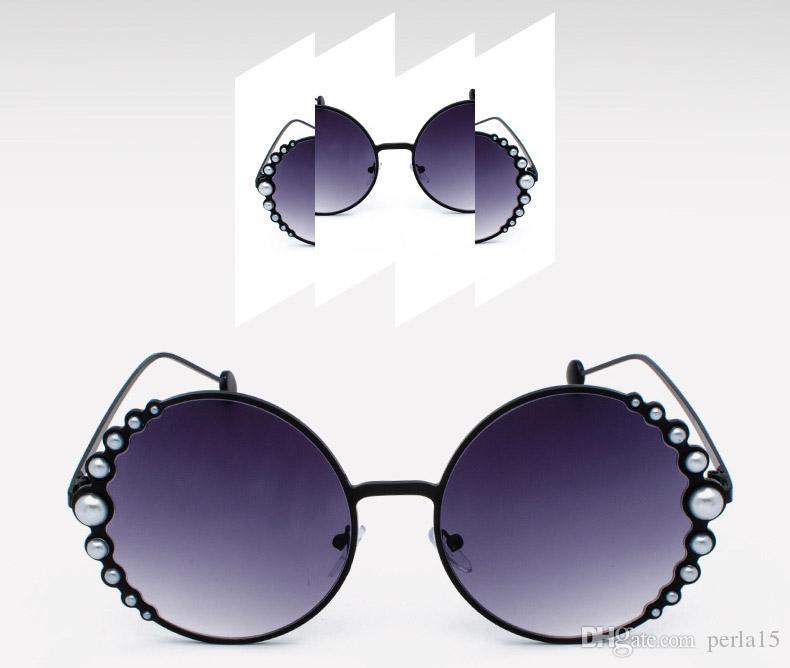 2019 Occhiali da sole da donna Neonati Occhiali da sole con perle Occhiali da sole rotondi in metallo di lusso Protezione UV Regali per principessa sfumature