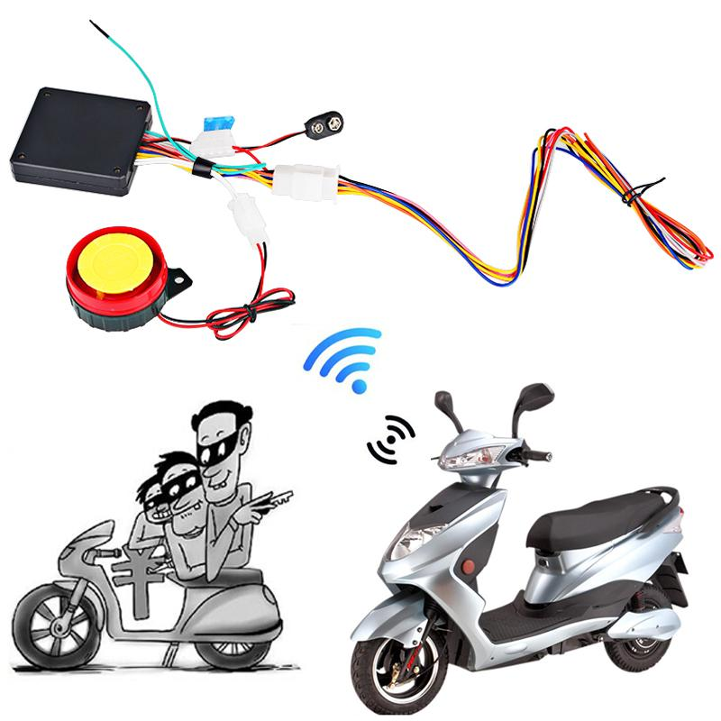 12V Remote Control Motorcycle Alarm System Universal Motorcycle Alarm System Scooter Anti-theft Security 2 Keys Fob