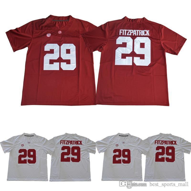 Alabama كريمسون Tide 8 Jones 2 Jalen Hurts 3 Ridley 29 Minkah Fitzpatrick 9 Bo Scarbrough Red White 2018 Sugar Powl Champions NCAA Jersey