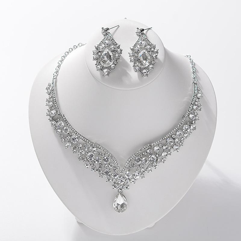 KMVEXO 2020 eleganti strass nuziale Veil insiemi dei monili per la collana Orecchini Matrimonio Donne Teardrop di cristallo set di gioielli partito