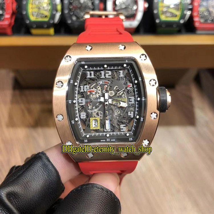 R Yüksek Sürüm RM 030 İskelet Büyük Tarih Dial Japonya Miyota Otomatik Mekanik RM030 Erkek İzle Gül Altın Kılıf Kauçuk Spor Lüks Saatler