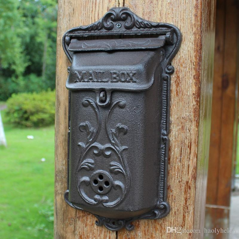 Small Cast Iron Mailbox Wall Mounted Garden Decorations Metal Mail Letter Post Box Postbox Rustic Brown Home Cottage Patio Decor Vintage Antique