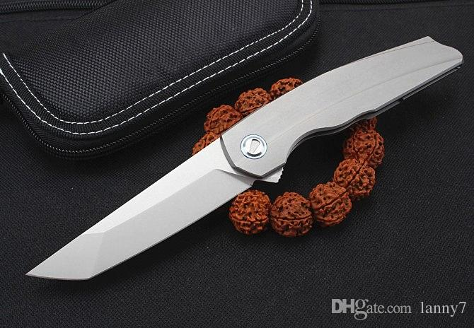Nueva llegada Flipper cuchillo plegable M390 Tanto Blade TC4 Aleación de titanio Mango Rodamiento de bolas Acampar al aire libre EDC Cuchillos plegables de bolsillo
