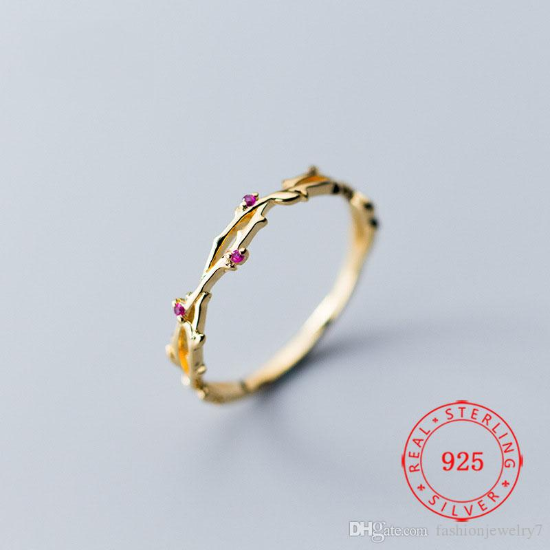 S925 sterling silver ring female Korean style fashion sweet pink cubic zirconia diamond golden branch ring simple ring