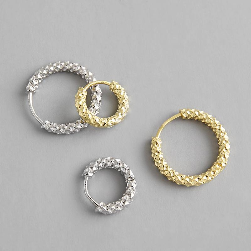 Real 925 sterling silver geometric hoop earrings for women orecchini, simple gold color circle small hoops earrings jewelry