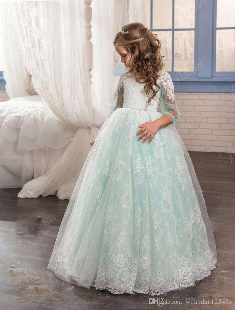 2020 Royal Blue Flower девочка Платья для свадьбы Первого Причастия платья Lace Аппликации Маленьких девочки Pageant халаты первого святого Причастия платья