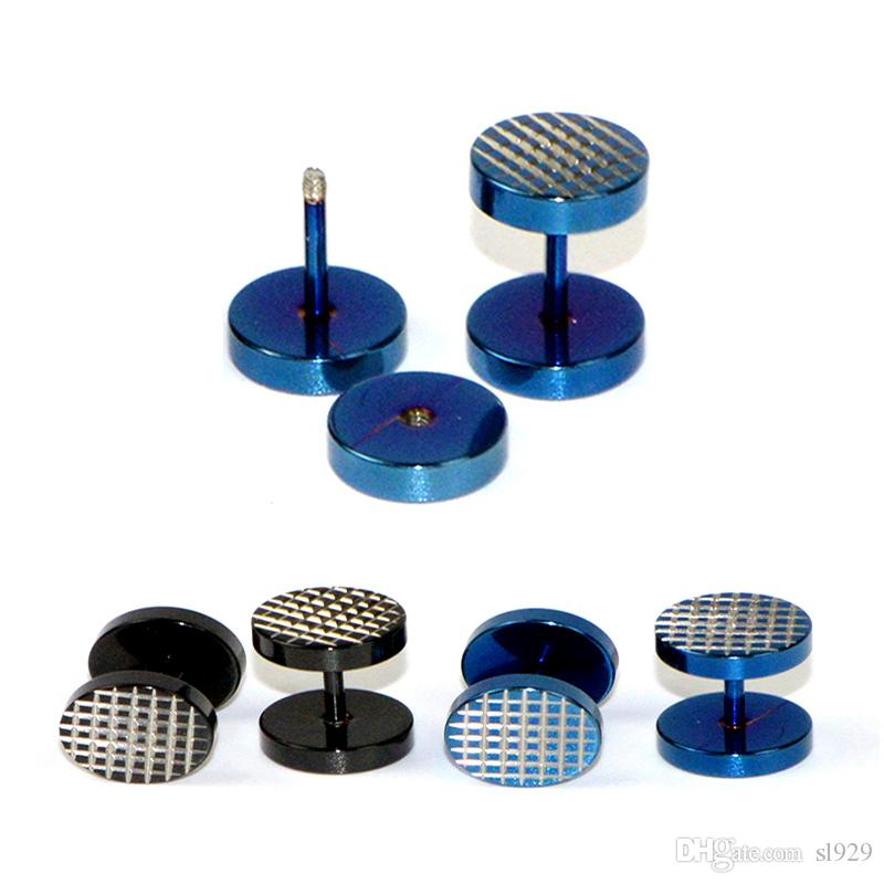 Men's Titanium Steel Bar Barbell Earrings Dumbbell Women Earring Studs Black blue Stainless Steel Ear Rings Men Ear Buckle