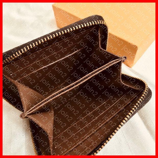 Zippy para sikke m60067 tasarımcı moda kadın kısa cüzdan fermuar kompakt kart sikke cep tutucu anahtar kılıfı cüzdan poşet kahverengi tuval