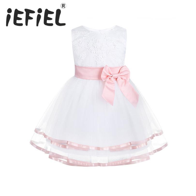 Iefiel новорожденного малыша девушка крещение платье новорожденных девочек принцесса тюль вечерние платья 1 год подарок на день рождения дети ну вечеринку платья Y19050801