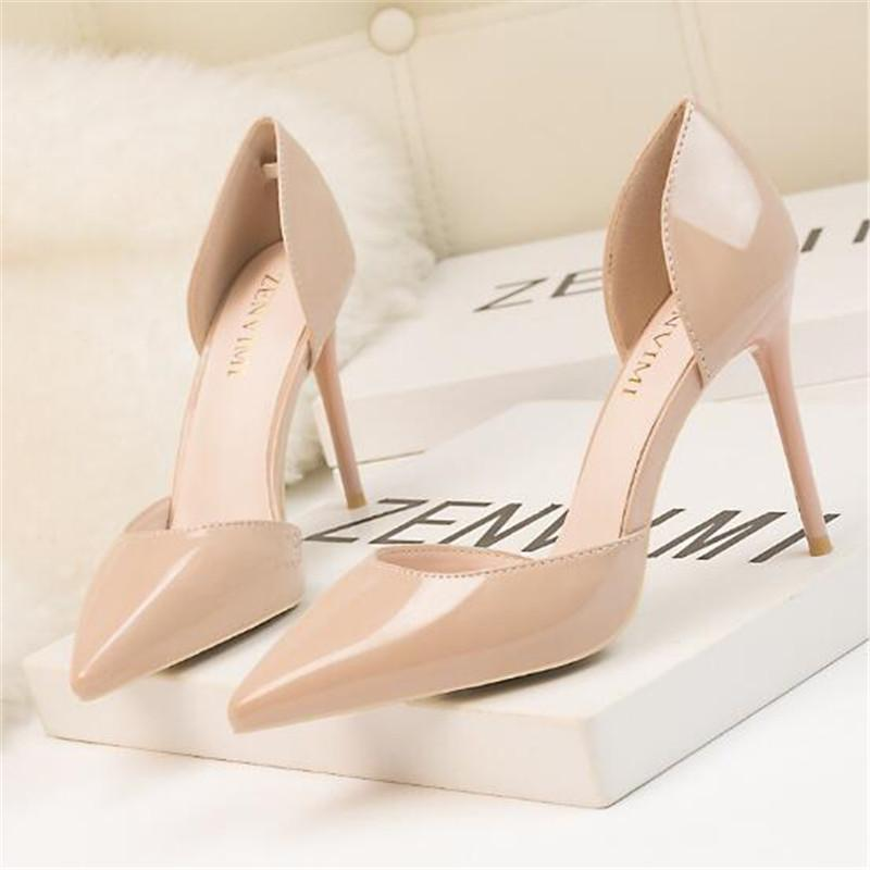 Zapatos de tacón alto Mujer Bombea 10 cm Zapatos de mujer Sexy dedo del pie puntiagudo Stilettos banquete de boda Negro Tacones Nude Stiletto más tamaño