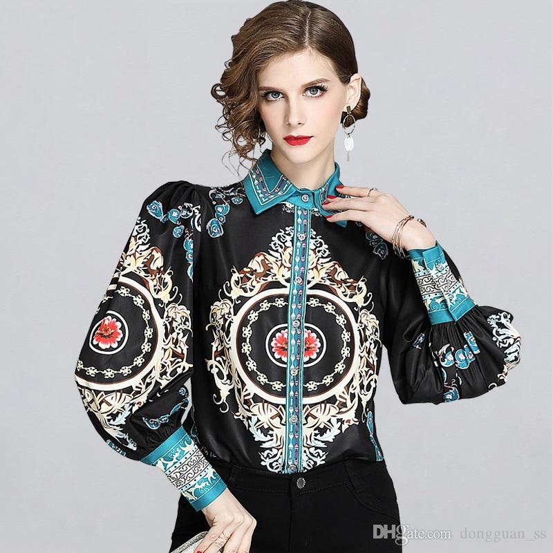 Yeni Avrupa Şifon Bluz Kadınlar Vintage Baskı Bayanlar Puff Kol Casual Bluz Bayan İş Elbiseleri Büro Gömlek Tops