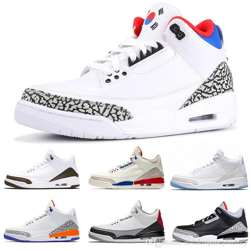 2019 Jump man 3s III SEUL Knicks Rivals Moca clorofila Katrina negro blanco para hombre zapatos de baloncesto lobo gris diseñador zapatillas deportivas 7-13