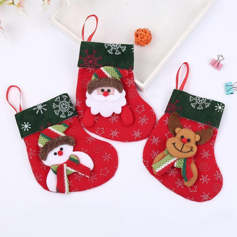 Chaussettes bonbons de Noël Paillette Cadeau Sacs Wrap pour Stocking Décorations d'arbre Décoration de Noël Père Noël renne ours bonhomme de neige DH0219