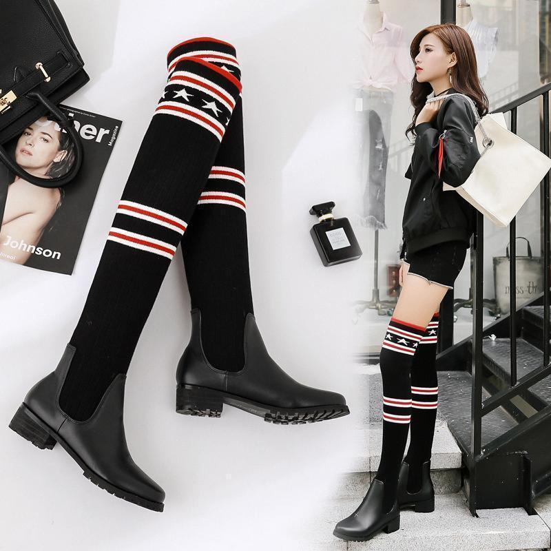 Neue Art und Weise Frauen elastische Kraft Socken Stiefel Sexy Damen nimmt Bein über das Knie Stiefel Mädchen-Schnee-Aufladungen Designer Marke beiläufige Shoesca50 #
