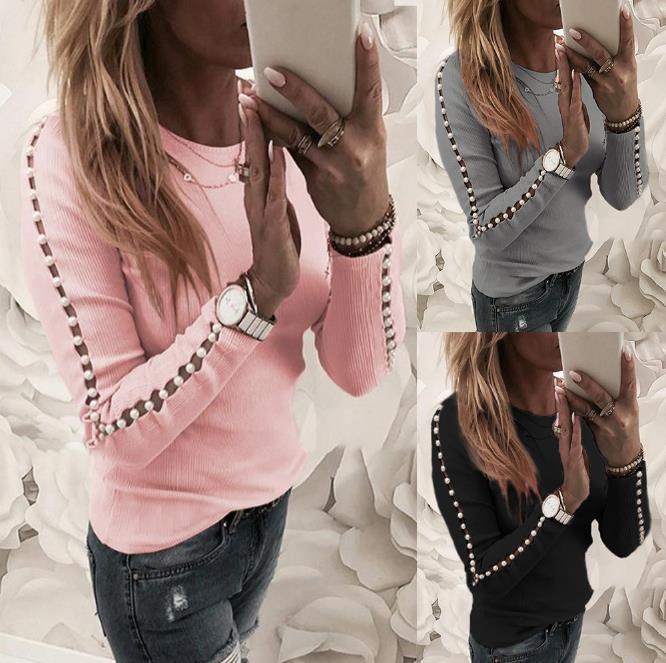 Elegante Pearl Nail Bead manica lunga maglia rosa maglioni Donne Invierno 2020 Tops O collo scava fuori Pullover Black Ladies Grigio