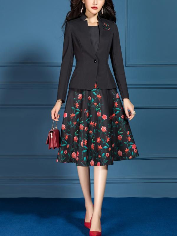 Женские костюмы элегантный офис Леди формальный тонкий с длинным рукавом блейзер куртка плюс размер длина до колен цветочный трапеция Платье из двух частей комплект