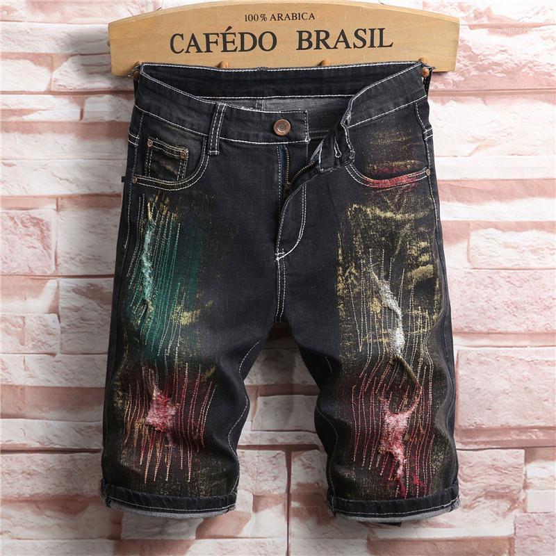 Designer Pantalon court Fashion Slim Summer Longueur genou Jeans élastique Trou Homme Jean Hommes 2020 Luxe