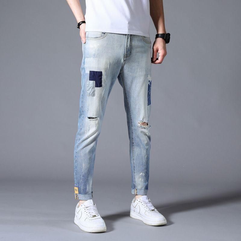 Erkekler İnce Tasarımcısı için Hip Hop Jeans Günlük Pantolon Sonbahar Sweatpants Streetwear Erkek Pantolon Delik Denim Jeans Düz