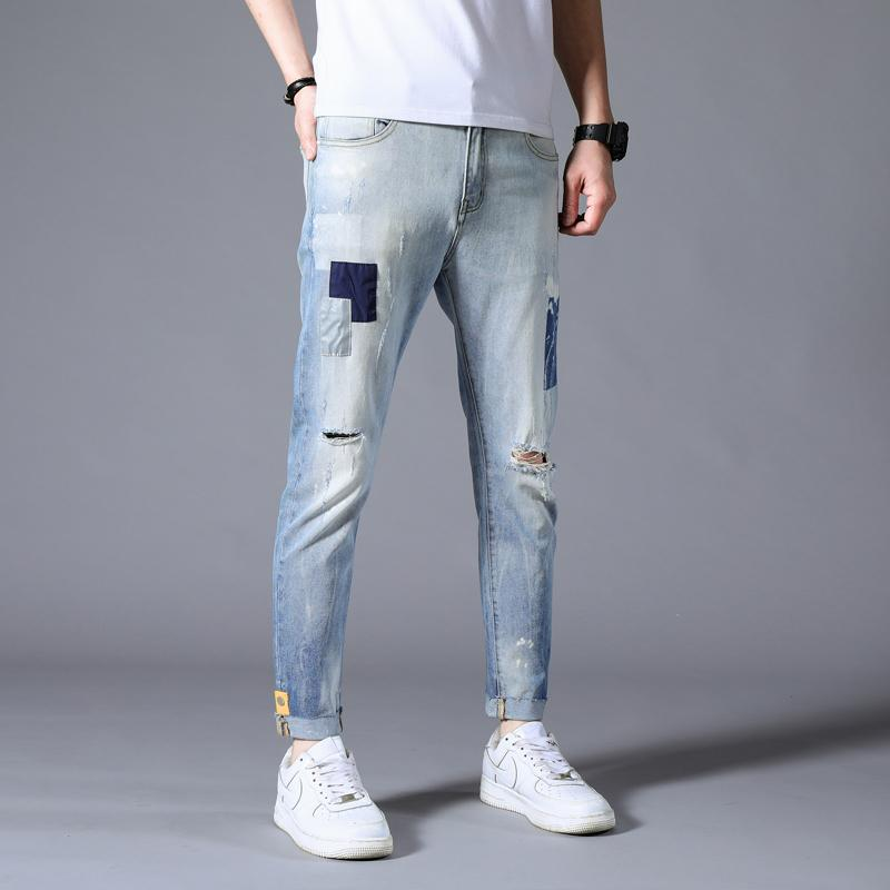 Hip Hop Jeans Casual Pants Autumn Sweatpants Streetwear Male Trousers Hole Denim Jeans For Men Slim Designer Straight