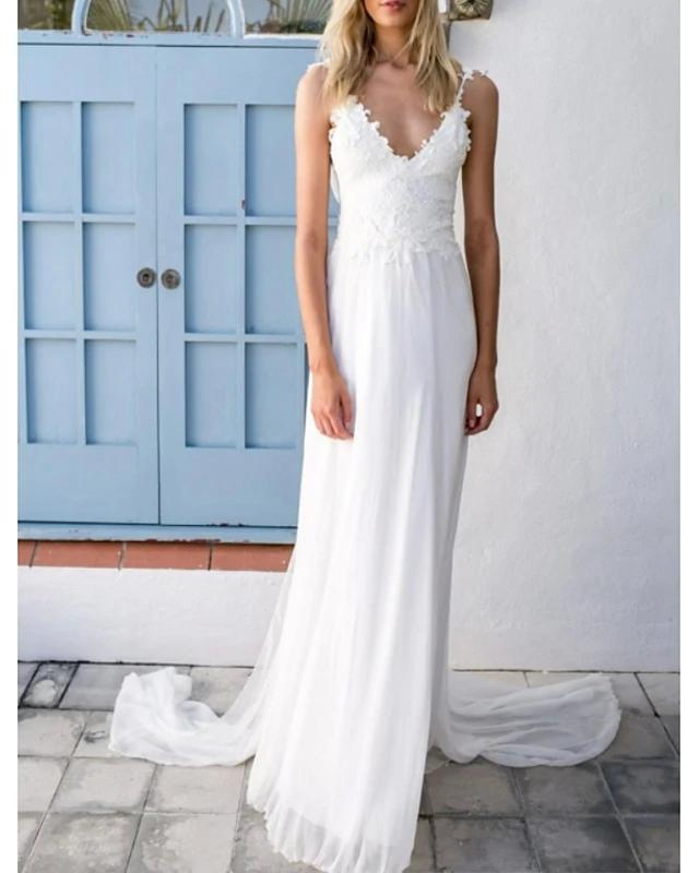 A-Line Wedding Dresses V Neck Spaghetti Strap Sweep / Brush Train Chiffon Lace Sleeveless Vintage Sexy Wedding Dress in Color Backless with
