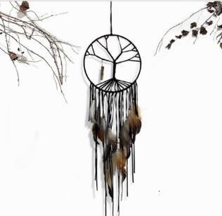 Handmade nero dell'albero della Vita Dream Catcher coperta Monili Casa decorazioni fatte a mano Tassel cristallo ornamenti ciondolo