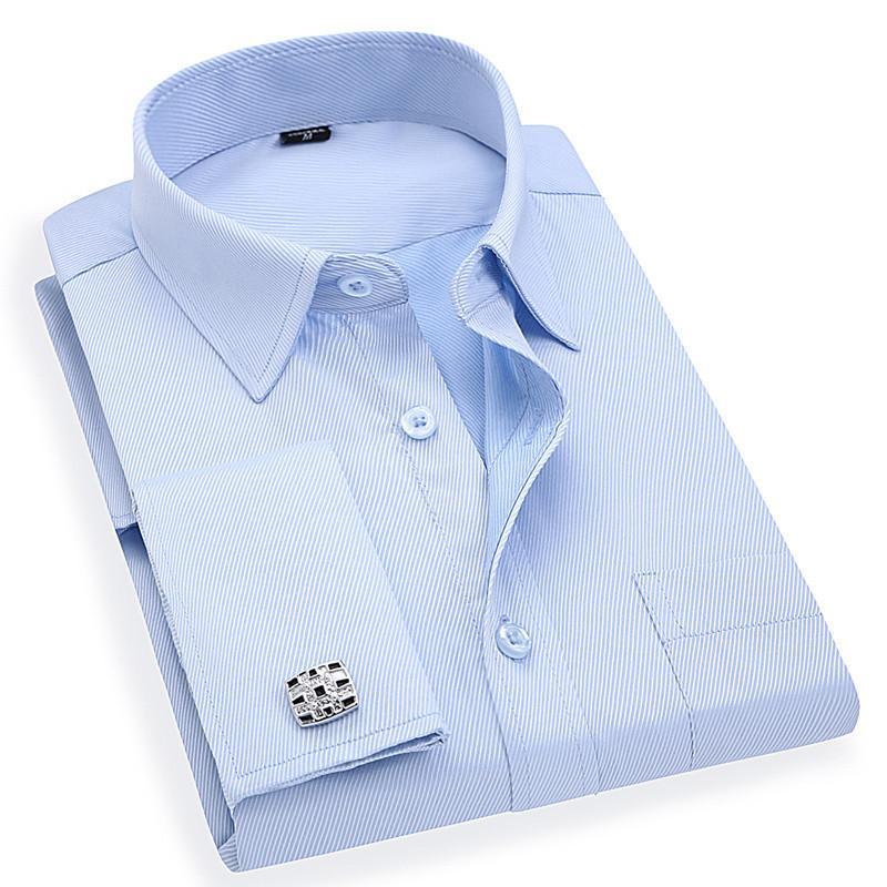 Мужские французские запонки рубашки бизнес платье с длинным рукавом Белый Твил синий Азиатский размер М, L, ХL, ХХL, размер 3XL, размер 4XL, формы 5XL, размер 6XL CX200629