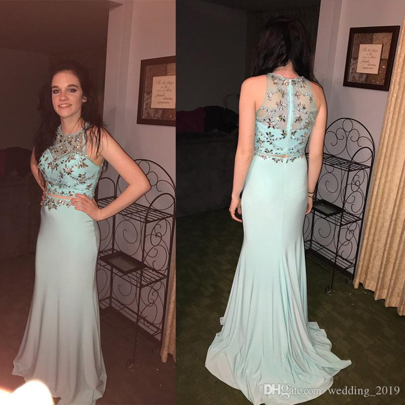 Prom Dresses Sexy heart-shaped collar back zipper two-piece suit of fish tail wrapped hip spandex elastic skirt tail heavy custom package