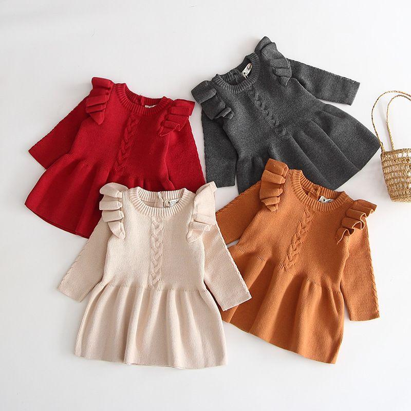 Meninas vestido feito malha da criança do bebê da princesa veste infantil cobre camisas de Natal menina recém-nascida roupas boutique de roupas de bebê