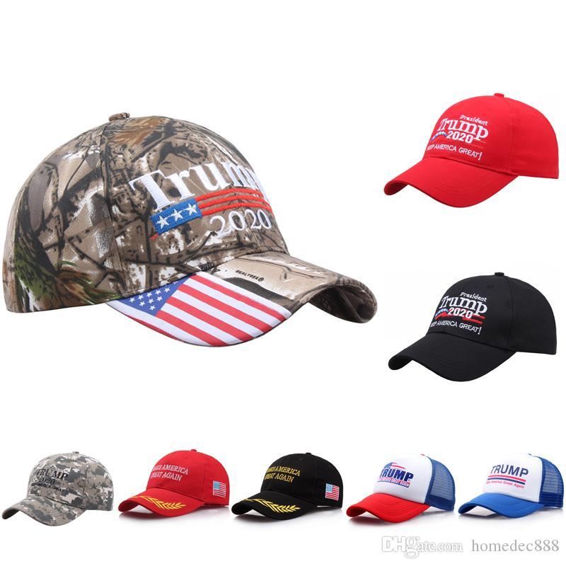 Donald Trump Camouflage Hat Keep America 2020 Grande boule Casquette Lettre de broderie Casquette de baseball réglable Snapback chapeau pour homme femmes VT1746